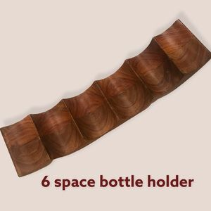 Wooden• 6 -Space Curved Wine Bottle Holder• EUC